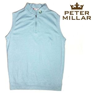 Peter Millar Jackets & Coats - Peter Millar 1/4 Zip Vest Aqua Light Blue Medium